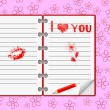 Notebook with love messages.Vector. — 图库矢量图片