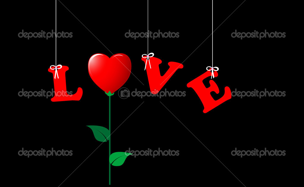 The word LOVE; hanging and the O replaced by a flower-heart. Vector. — Stock Vector #4751979