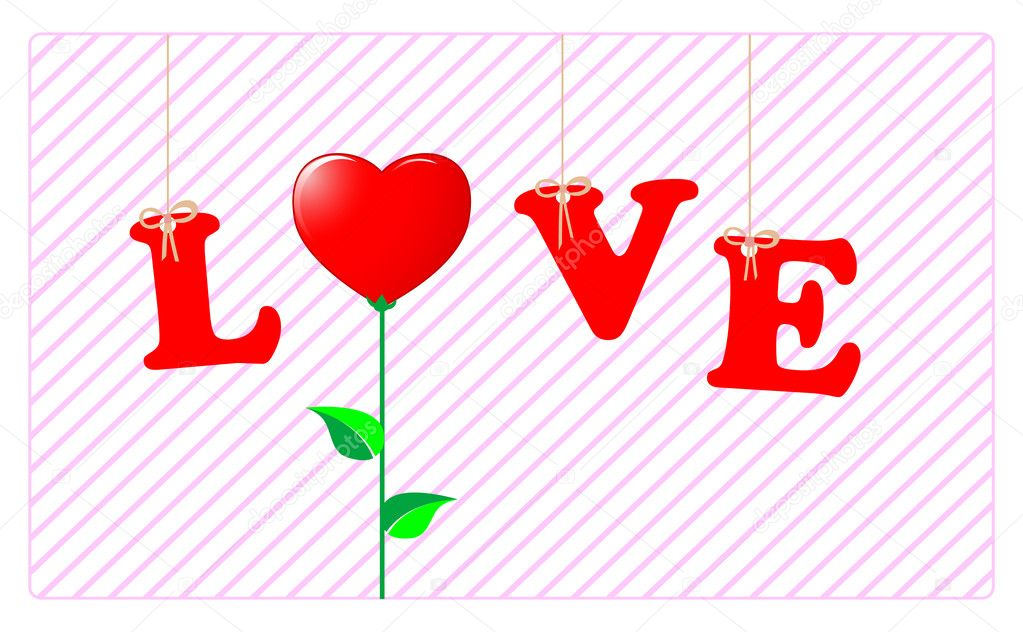 The word LOVE hanging and the O replaced by a flower-heart. Vector. — Stock Vector #4758427