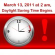 Stok Vektör: Daylight saving time begins.