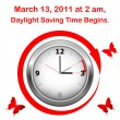 Vector de stock : Daylight saving time begins.