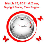 Daylight saving time begins. — Vector de stock