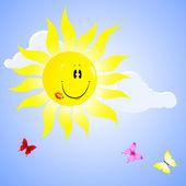 Uśmiechnięte słoneczko. — Wektor stockowy