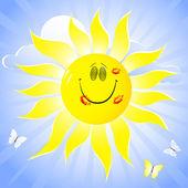 Sol sonriente. — Vector de stock