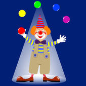 A clown juggling colorful balls. vector. — Vector de stock