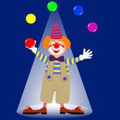 Un clown jonglage balles colorées. vector. — Vecteur