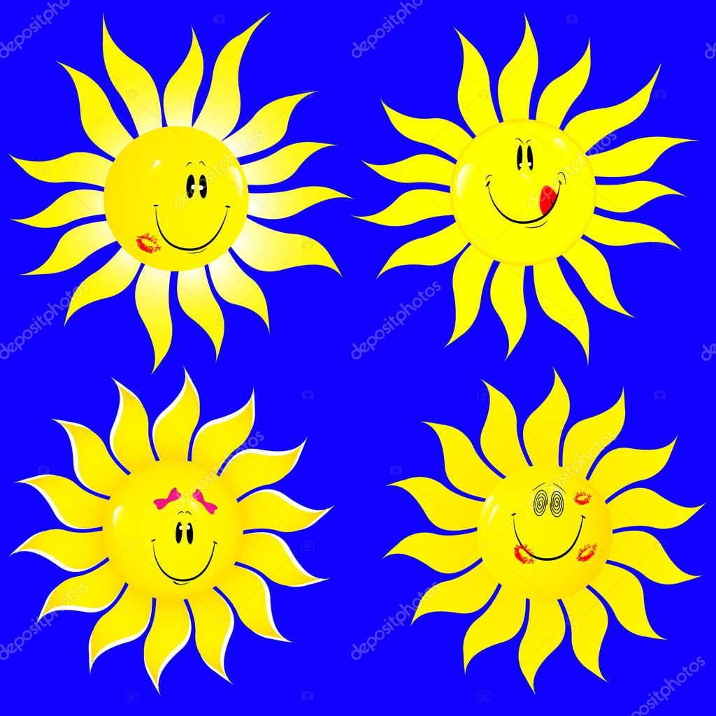 Set beautiful suns isolated on blue. Vector illustration. — Stock Vector #5283220