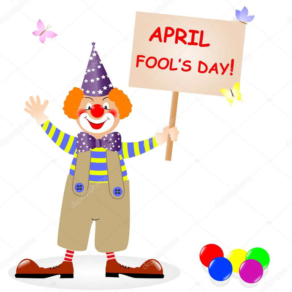 Fool's day. The amusing clown with poster. Vector illustration.  Stock Vector #5287445