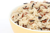 Detail of bowl with cooked rice of various types — Stock Photo
