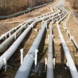 Stock Photo: Pipelines leading into horizon with power-station