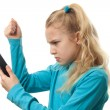 Young girl on the phone is angry — Stock Photo