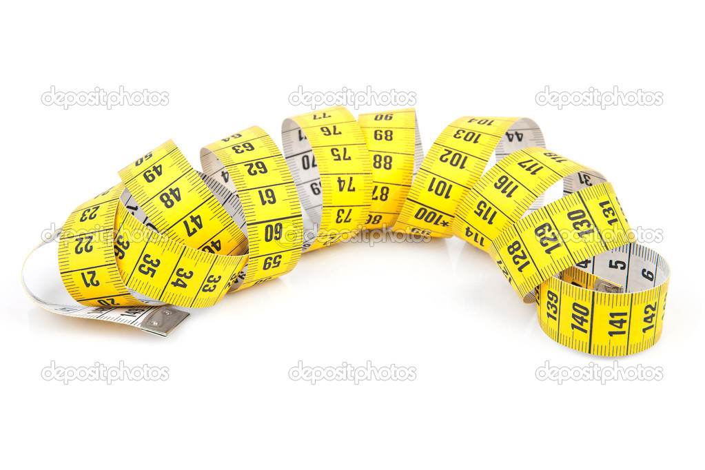Yellow measure tape isolated on white background — Stock Photo #3946861