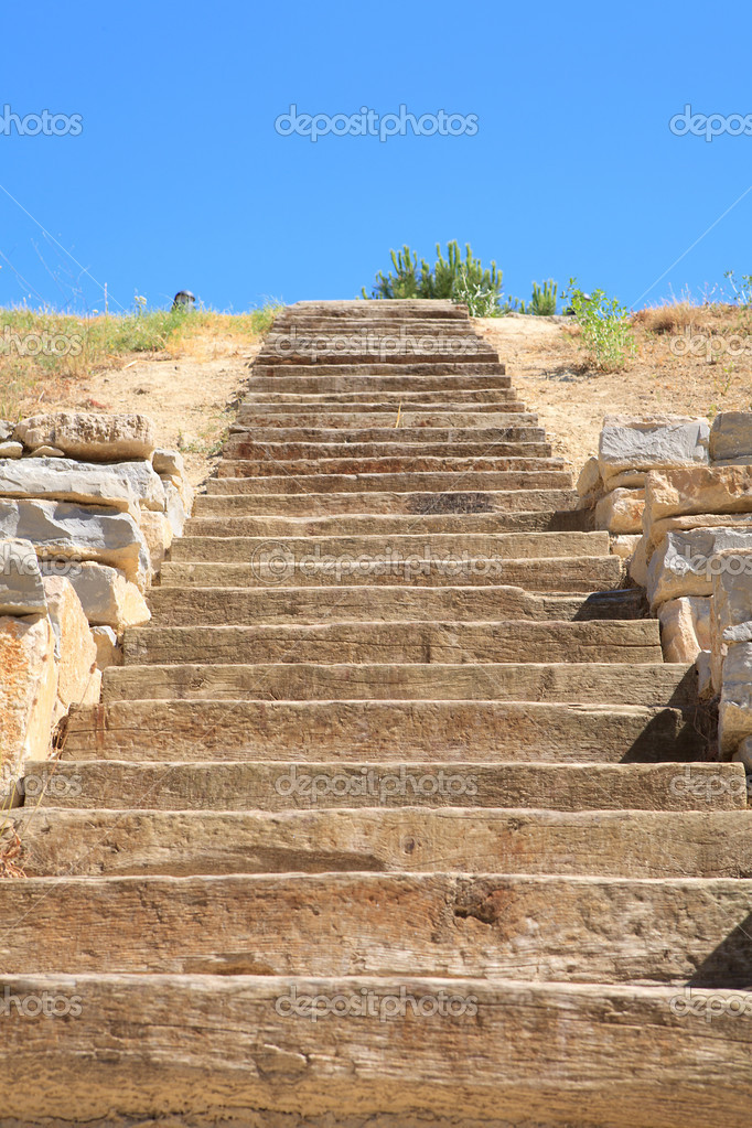 Outdoors nature stairs to blue  sky  Stock Photo #3947073