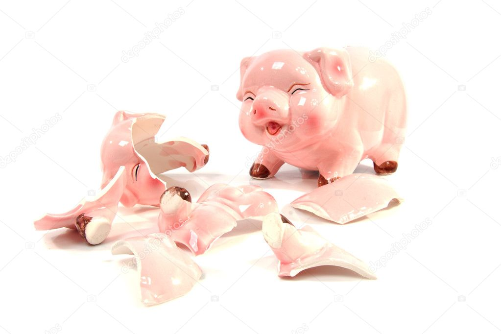 Whole and broken piggy bank over white background — Stock Photo #4003744