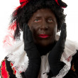 Surprised Zwarte Piet ( black pete) typical dutch character — Stock Photo