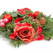 Christmas wreath with red roses - Stock Photo
