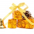 Golden presents and decoration — Stock Photo