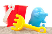 Colorful plastic play toys for the beach — Stock Photo