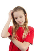 Portrait of thinking young girl — Stock Photo