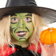 Portrait of green Halloween witch in closeup — Stock Photo #4129892