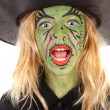 Portrait of green halloween witch — Stock Photo
