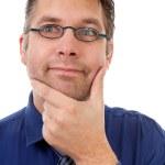 Portrait of nerdy geek thinking — Stock Photo #4152953