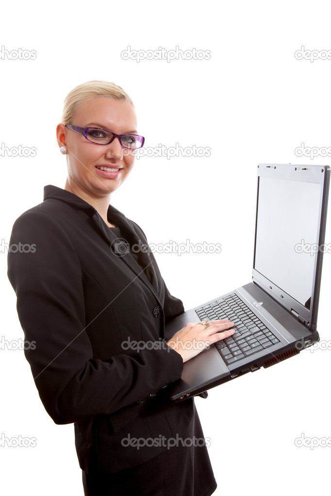 Busy blonde secretary with laptop over white background  Stock Photo #4364226