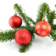 Branch of christmas tree with balls — Stock Photo #4560881