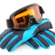 Stock Photo: Ski goggles and gloves