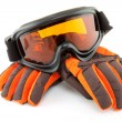 Ski goggles and gloves - Foto Stock