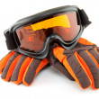 Ski goggles and gloves - Stock Photo