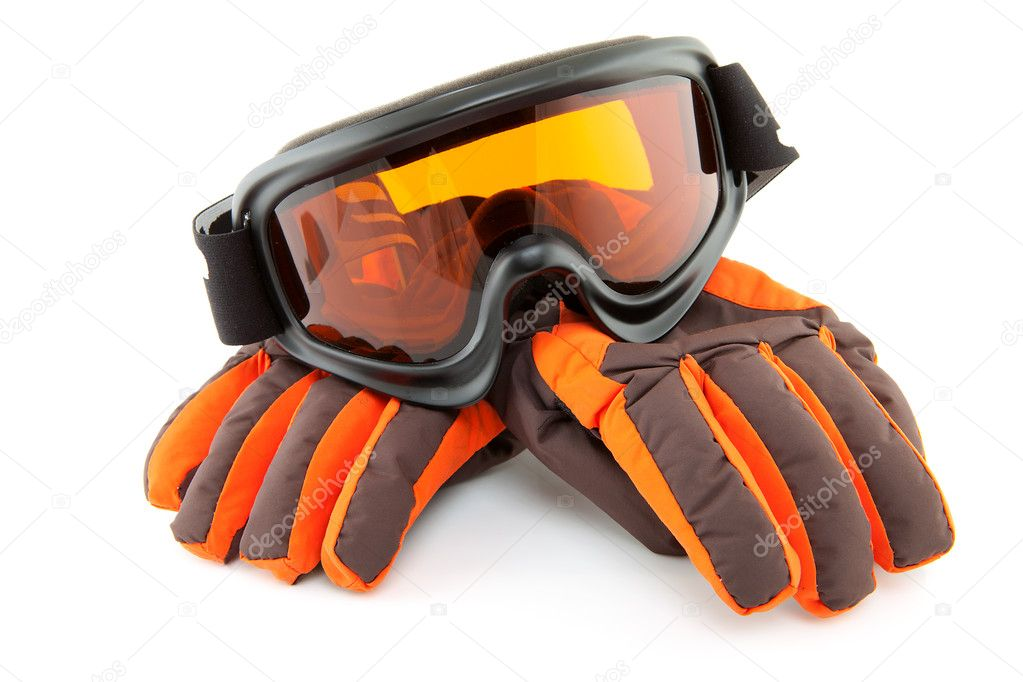 Ski goggles and gloves isolated on white background — Stock Photo #4652653