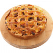 Delicious home baked apple pie on wooden cutting board — Stock Photo #4812596