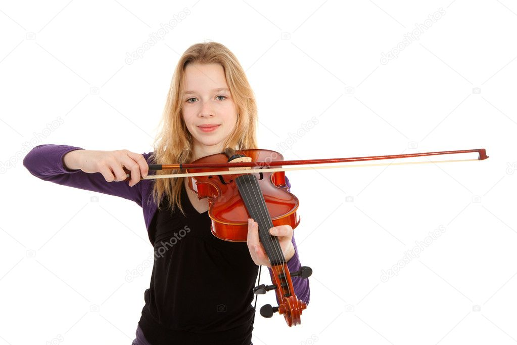 Girl is playing the violin over white background — Stock Photo #4882818