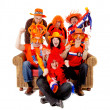 Group of Dutch soccer fan watching game — Stock Photo #4930909