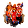 Stock Photo: Group of Dutch soccer fan watching game