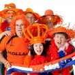 Group of Dutch soccer fans — Stock Photo