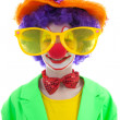 Portrait of child dressed as colorful funny clown — Stock Photo