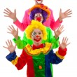 Three dressed up as colorful funny clown — Stock Photo