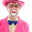 Portrait of male clown in pink — Stock Photo