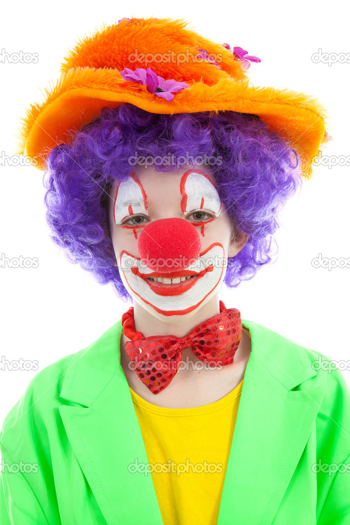 portrait of child dressed as colorful funny clown stock. Black Bedroom Furniture Sets. Home Design Ideas