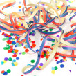 Party streamers and colorful confetti — Stock Photo