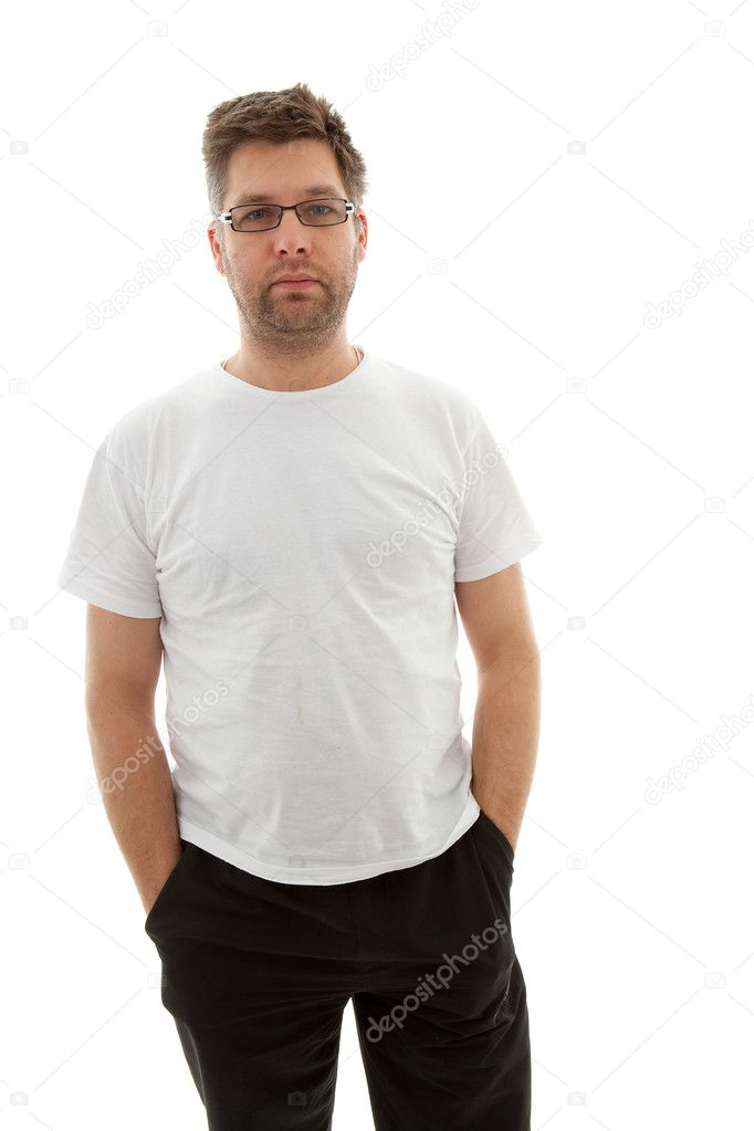 Unshaved man looking into camera over white background — Stock Photo #5121714
