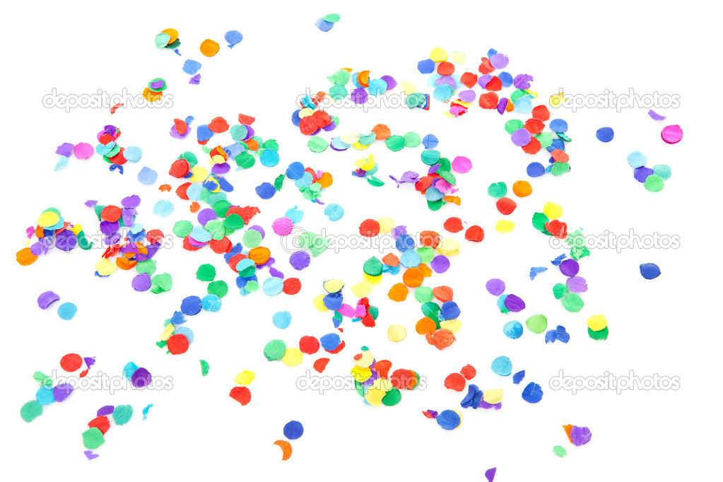 Colorful confetti over white background — Stock Photo #5123066