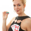 Royalty-Free Stock Photo: Woman holding Royal Flush