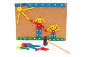 Creación hecha por niños en tablero de corcho — Foto de Stock