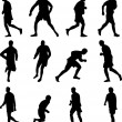 Soccer player collection silhouette vector - Stock Vector