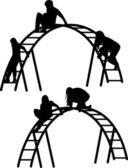 Children silhouette vector — Stock Vector