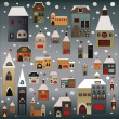 Christmas houses vector set - Stock Vector