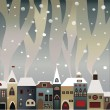 Smoking snow-covered houses — Stock Vector #4049857